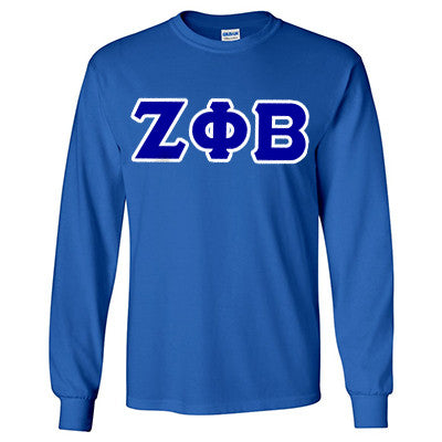 Zeta Phi Beta Longsleeve T-Shirt with Twill - Gildan 2400 - TWILL