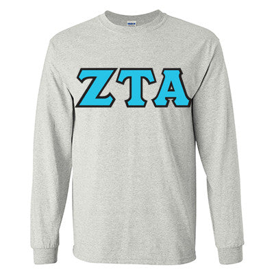 Zeta Tau Alpha Longsleeve T-Shirt with Twill - Gildan 2400 - TWILL