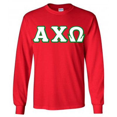 Alpha Chi Omega Longsleeve T-Shirt with Twill - Gildan 2400 - TWILL