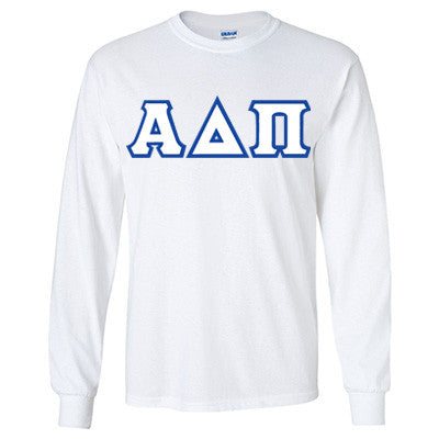 Alpha Delta Pi Longsleeve T-Shirt with Twill - Gildan 2400 - TWILL