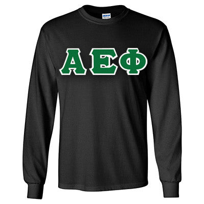 Alpha Epsilon Phi Longsleeve T-Shirt with Twill - Gildan 2400 - TWILL