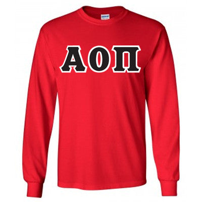 Alpha Omicron Pi Longsleeve T-Shirt with Twill - Gildan 2400 - TWILL