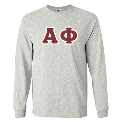 Alpha Phi Longsleeve T-Shirt with Twill - Gildan 2400 - twill