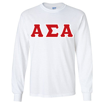 Alpha Sigma Alpha Longsleeve T-Shirt with Twill - Gildan 2400 - TWILL