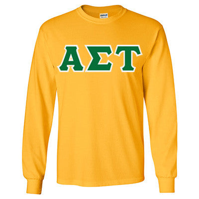 Alpha Sigma Tau Longsleeve T-Shirt with Twill - Gildan 2400 - TWILL