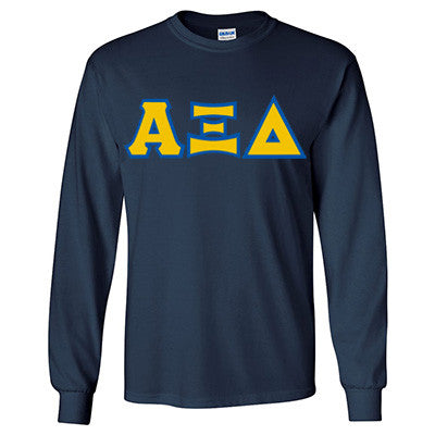 Alpha Xi Delta Longsleeve T-Shirt with Twill - Gildan 2400 - TWILL