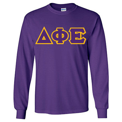 Delta Phi Epsilon Longsleeve T-Shirt with Twill - Gildan 2400 - TWILL