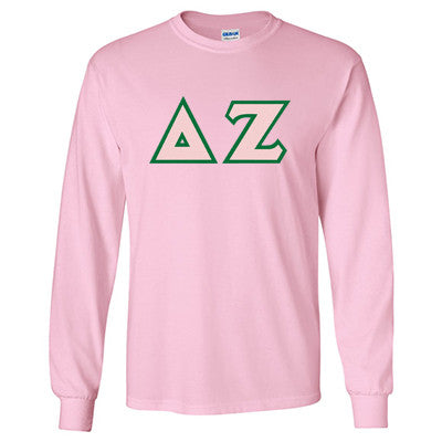Delta Zeta Longsleeve T-Shirt with Twill - Gildan 2400 - TWILL