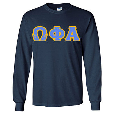 Omega Phi Alpha Longsleeve T-Shirt with Twill - Gildan 2400 - TWILL