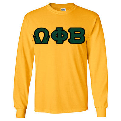 Omega Phi Beta Longsleeve T-Shirt with Twill - Gildan 2400 - TWILL