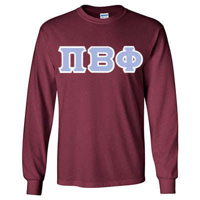Pi Beta Phi Longsleeve T-Shirt with Twill - Gildan 2400 - TWILL