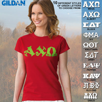 Alpha Chi Omega Ladies' Softstyle Printed T-Shirt - Gildan 6400L - CAD