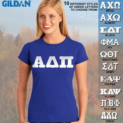 Alpha Delta Pi Ladies' Softstyle Printed T-Shirt - Gildan 6400L - CAD