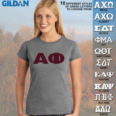 Alpha Phi Ladies' Softstyle Printed T-Shirt - Gildan 6400L - CAD