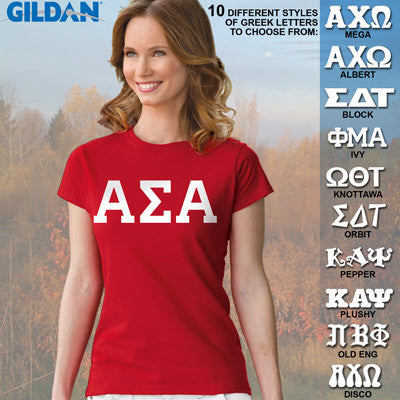 Alpha Sigma Alpha Ladies' Softstyle Printed T-Shirt - Gildan 6400L - CAD