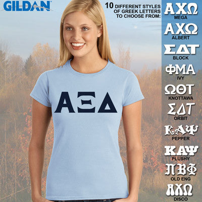 Alpha Xi Delta Ladies' Softstyle Printed T-Shirt - Gildan 6400L - CAD