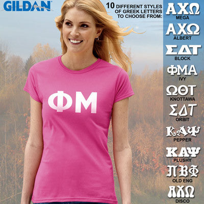 Phi Mu Ladies' Softstyle Printed T-Shirt - Gildan 6400L - CAD