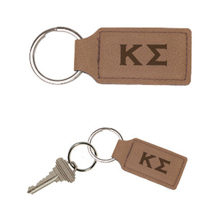 Greek Rectangle Leather Keychain - GFT178 - LZR