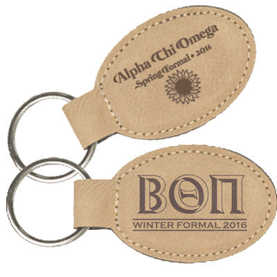 Custom Greek Formal Oval Leather Keychain - GFT175,176 - LZR