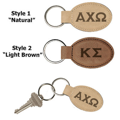 Greek Oval Leather Keychain - GFT175,176 - LZR