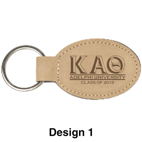 Custom Greek Graduation Oval Leather Keychain - GFT175 - LZR