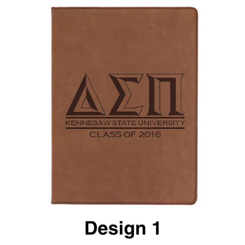 Custom Greek Graduation Leather Portfolio with Notepad - GFT186 - LZR