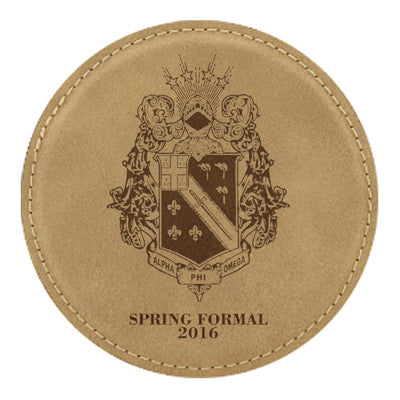 Custom Greek Formal Leather Coaster - GFT195 - LZR