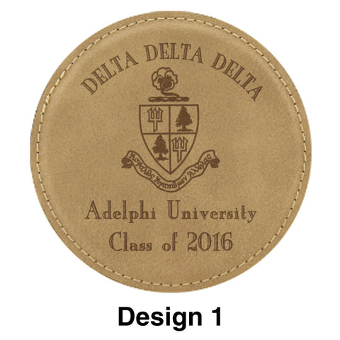 Custom Greek Graduation Leather Coaster - GFT195 - LZR
