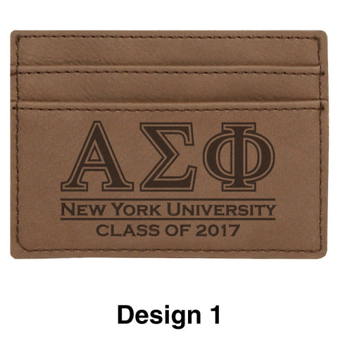 Custom Greek Graduate Dark Brown Leather Wallet - GFT198 - LZR