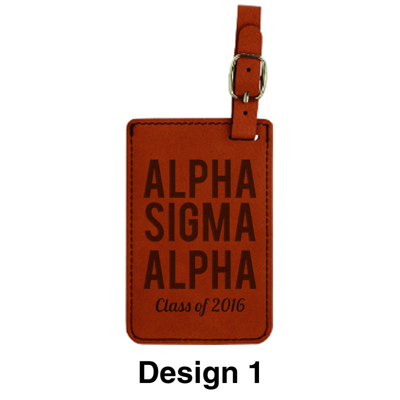 custom greek graduation rawhide leather luggage tag greek gear