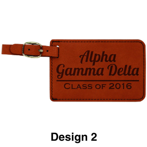 Custom Greek Graduation Rawhide Leather Luggage Tag - GFT264 - LZR
