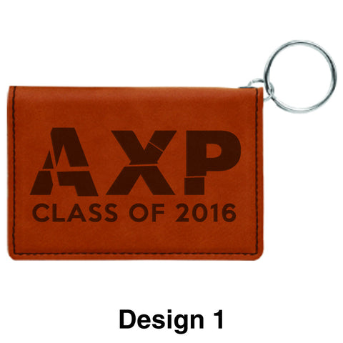 Custom Greek Graduation Rawhide Leather Keychain ID Holder - GFT279 - LZR