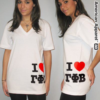 I Love Gamma Phi Beta Printed V-Neck Tee - American Apparel 2456W - CAD