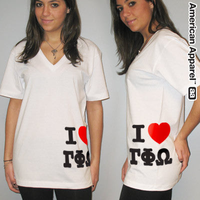 I Love Gamma Phi Omega Printed V-Neck Tee - American Apparel 2456W - CAD