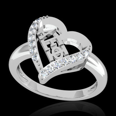Alpha Epsilon Phi Sorority Heart Ring - GSTC-R002