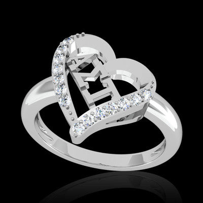 Alpha Sigma Tau Sorority Heart Ring - GSTC-R002