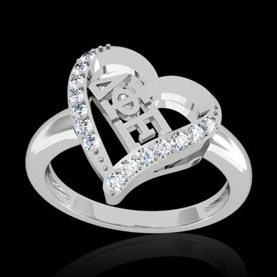 Delta Phi Epsilon Sorority Heart Ring - GSTC-R002