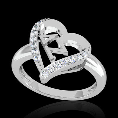 Delta Zeta Sorority Heart Ring - GSTC-R002