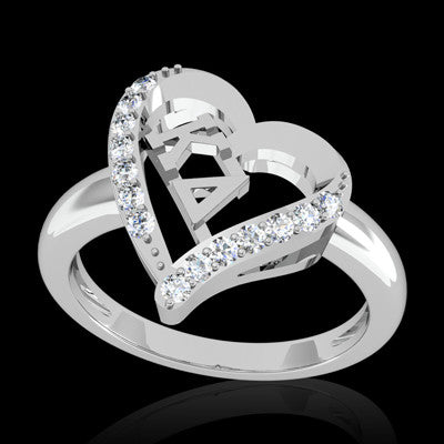 Kappa Delta Sorority Heart Ring - GSTC-R002