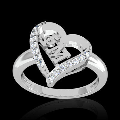 Phi Mu Sorority Heart Ring - GSTC-R002