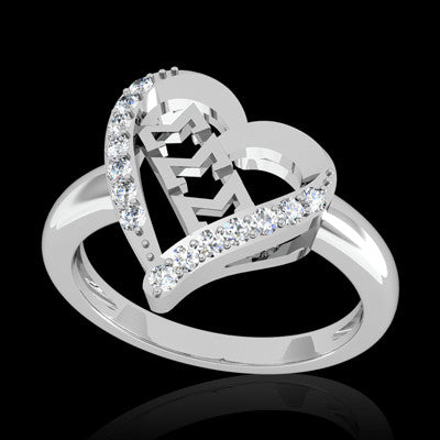 Sigma Sigma Sigma Sorority Heart Ring - GSTC-R002