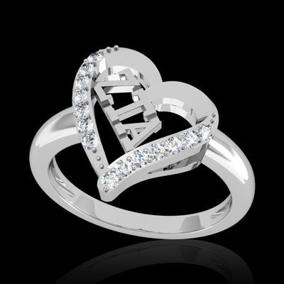 Zeta Tau Alpha Sorority Heart Ring - GSTC-R002