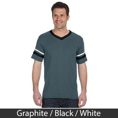 Theta Xi Striped Tee with Twill Letters - Augusta 360 - TWILL