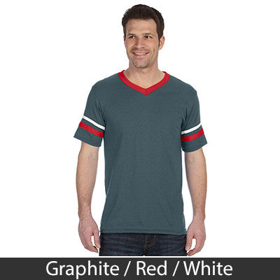Pi Lambda Phi Striped Tee with Twill Letters - Augusta 360 - TWILL