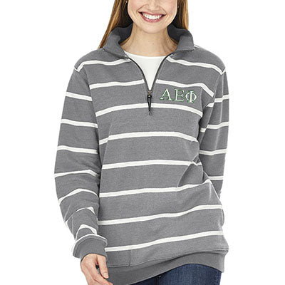 Sorority Striped Crosswind Quarter-Zip Sweatshirt - CR9359S - EMB