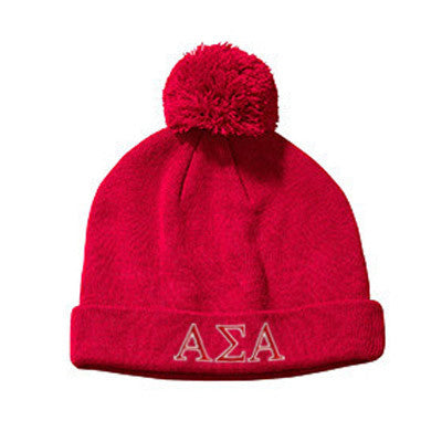 Sorority 2-Color Embroidered Knit Pom Beanie - Big Accessories BX028 - EMB