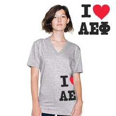 Greek I Love Printed V-Neck Tee - American Apparel 2456W - CAD