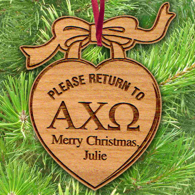 Sorority Engraved Heart Charm Ornament - LZR