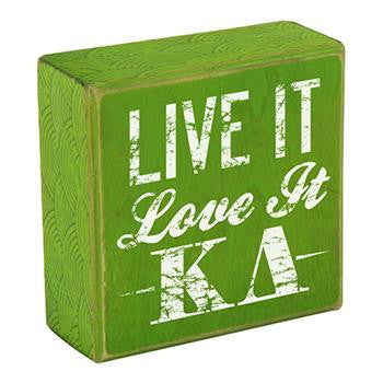 Kappa Delta Wooden Plaque - Live It, Love It - a1007