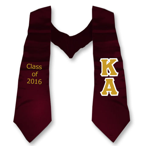 Kappa Alpha Graduation Stole with Twill Letters - TWILL